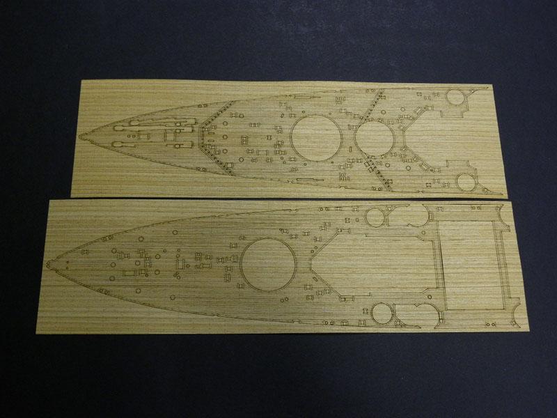 1/350英国海軍戦艦キングジョージ5世専用チーク色wooddeckセット