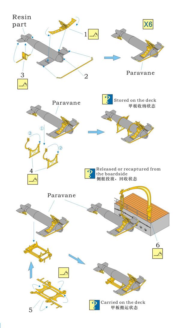 レインボーモデル1/700日本海軍艦艇搭載パラペーン機雷除去装置Atype